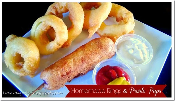 homemade onion rings and pronto pups
