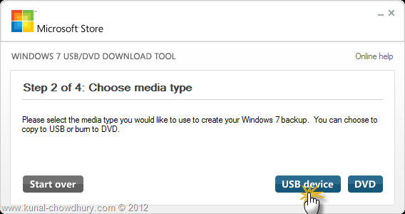 Create Bootable Windows 8 USB - Step 2 - Chose Media Type