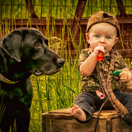 Mans Best Friend  by Jody Johnson - Animals - Dogs Portraits ( duck call, vintage, hunting, photorad, kids, black lab )