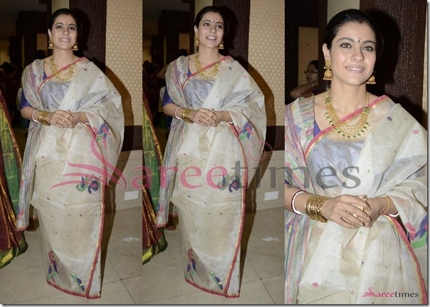 Kajol_White_Traditional_Saree