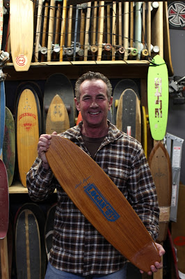 Brad is all smiles after discovering one of his old model boards at Skatelab. This rare Rosewood or Teak board is a one of a kind. Pic. taken Jan 2012