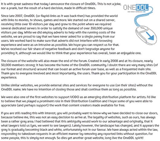 דברי הפרידה של מפעיל האתר