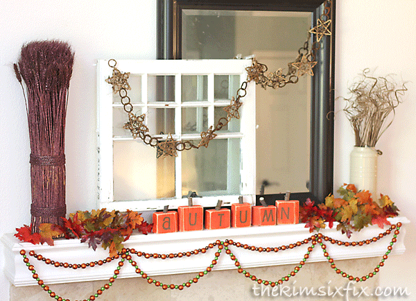 Autumn window mantel