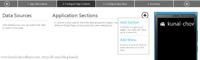 4. Create application sections and menus from the drop down