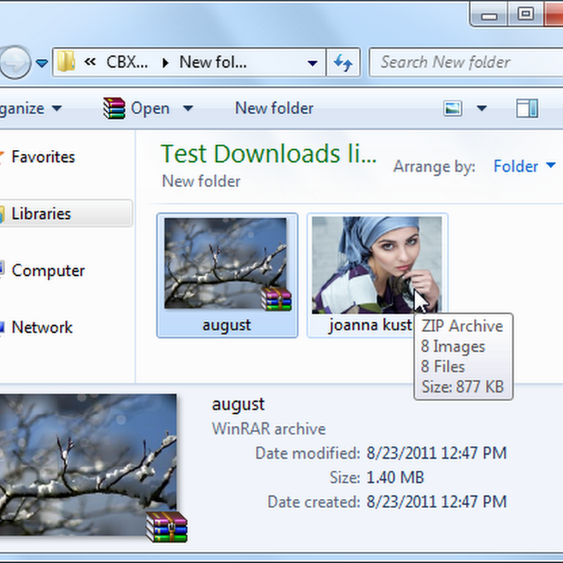 Thumbnail Previews of ZIP and RAR Image Archives in Windows Explorer