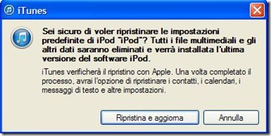 conferma per ripristinare iPod/iPhone/iPad alle impostazioni predefinite