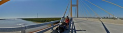 Crossing the Mississippi on the new Audubon bridge.