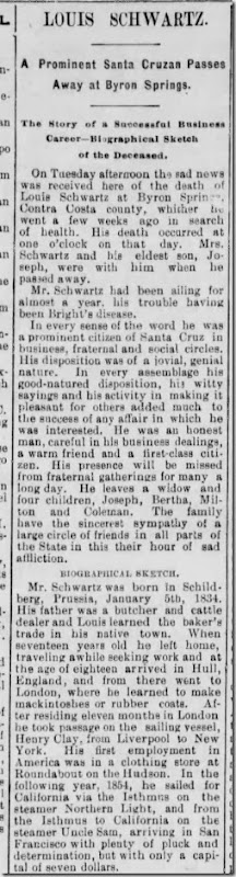 Schwartz Louis Obituary Santa Cruz Sentinel 24 May 1893 Part 1