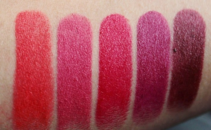 Wet'n'Wild Mega Last Matte Lipstick Collection Part 1 - Brights and Bolds - Purty Persimmon, Smokin' Hot Pink, Stoplight Red, Sugar Plum Fairy and Cherry Bomb review and swatch