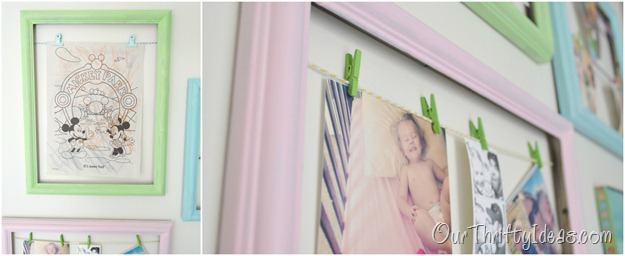 How cute is this. Use empty frames to hang your everyday pictures and artwork from your kids. Plus, print your Instagram pictures straight from your phone using the Walgreens Mobile App.
