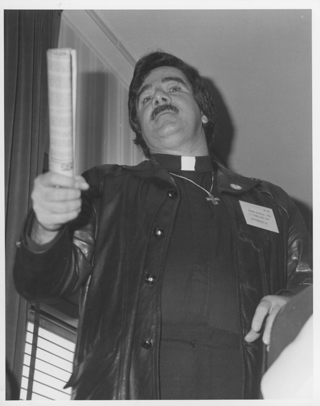 Reverend Ray Broshears, a leading gay activist from San Francisco, at the California Democratic Council (CDC) Convention. February 27-29, 1976.