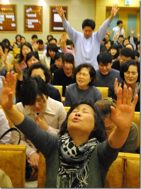 Молитва против концерта Леди Гаги в Сеуле. Апрель 2012 г.