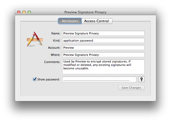 Replace the Preview Signature Password