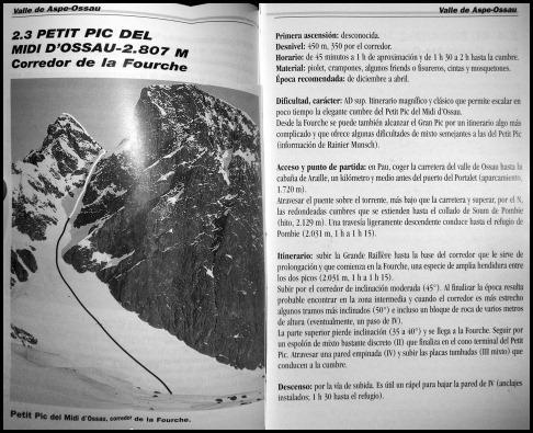 Croquis Midi d'Ossau - Petit Pic - Corredor de La Fourche y cumbre 450m AD  IV 50º