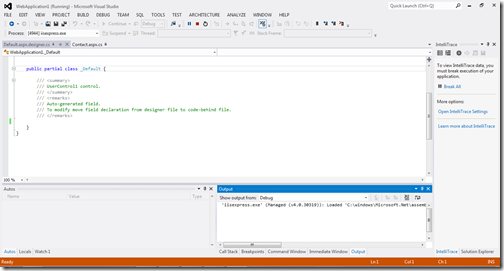 Orange color in Visual Studio 2012 Indicator indicate that it is in debug mode.