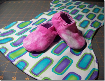 burp cloth and shoes