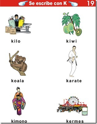 Palabras con K ejercicios de primaria