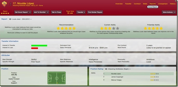 Scout report in Football Manager 2013