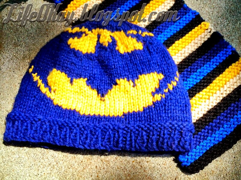 Knitting Pattern Batman Scarf : Life OKay: Knit Batman Hat, Striped Scarf