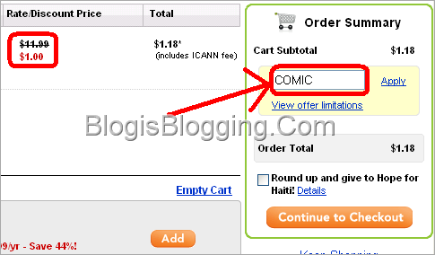 Godaddy Promo Code OR Coupon Code August COMIC