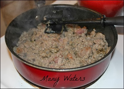 Many Waters Cooking Ground Sausage