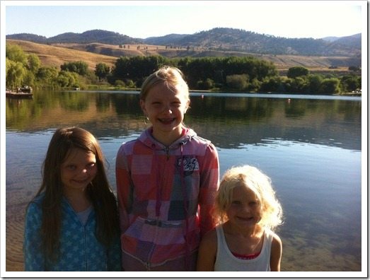 girls by lake photo