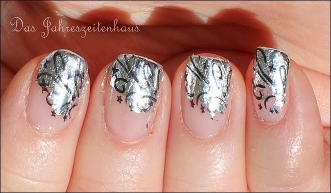 Nageldesign Silvester Glitzer Feuerwerk Silber elegant edel 6