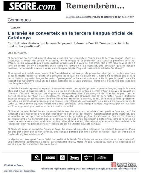 Segre Lei der occitan 220910