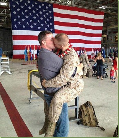 gay marine homecoming kiss