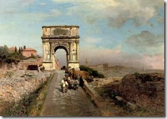 Oswald_Achenbach_-_Passing_through_The_Arch_of_Titus_on_the_Via_Sacra,_Rome