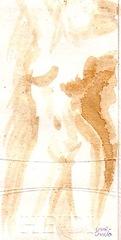 Nud feminin pictat cu cafea pe carton
