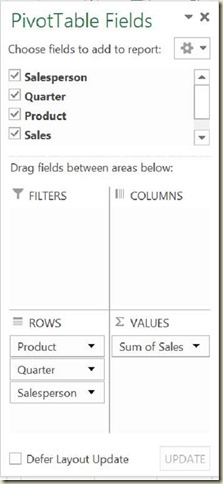 Pivot Tables in Excel - 2nd Pivot Table Field Arrangement