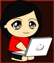 Doodle Perempuan Main Laptop Merah