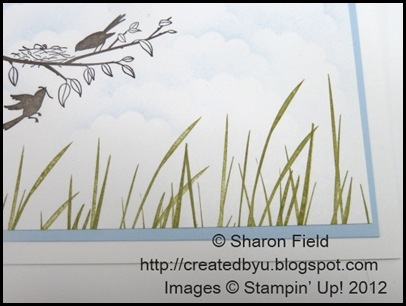 stamp old olive inked inspired by nature grass along the bottom edge o fhte card