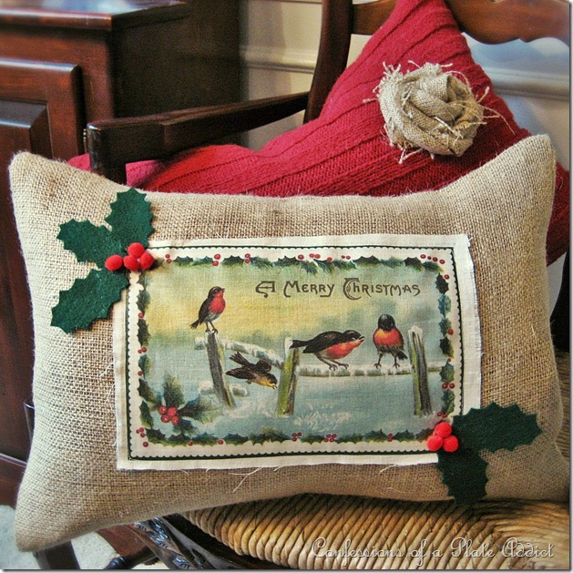 Vintage Christmas Card Pillow