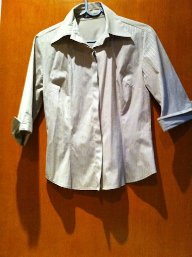 Camisa cáqui manga 3 quartos listras