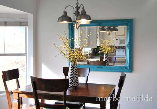 Turquoise kitchen mirror