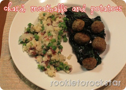 Chard, meatball and potatoes