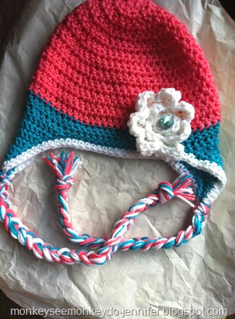 pink and blue flower hat