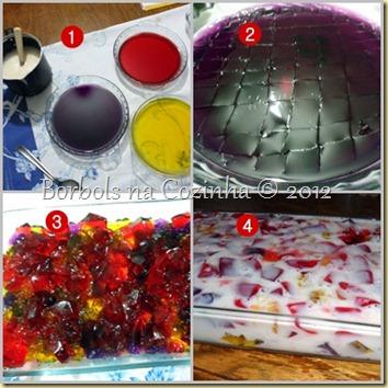 mosaico de gelatina com pudim diet