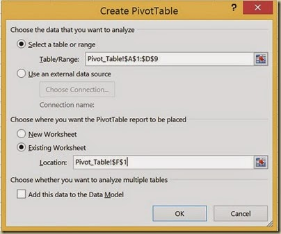 Pivot Tables in Excel - Completed Dialogue Box
