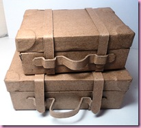 Paper mache suitcases