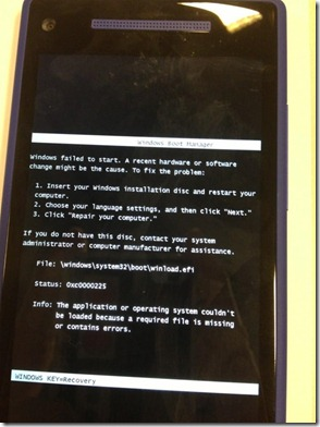 Windows Phone apresenta erro no Boot Manager