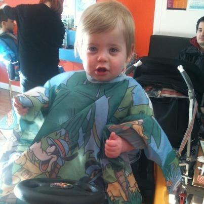 Pre-hair cut - looks like he's enjoying!