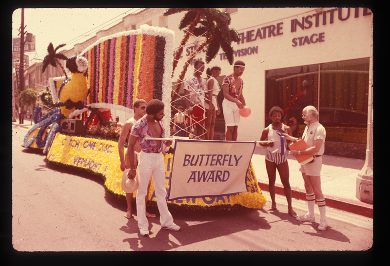 The float that won the Butterfly Award at the Los Angeles Christopher Street West pride parade. 1982.