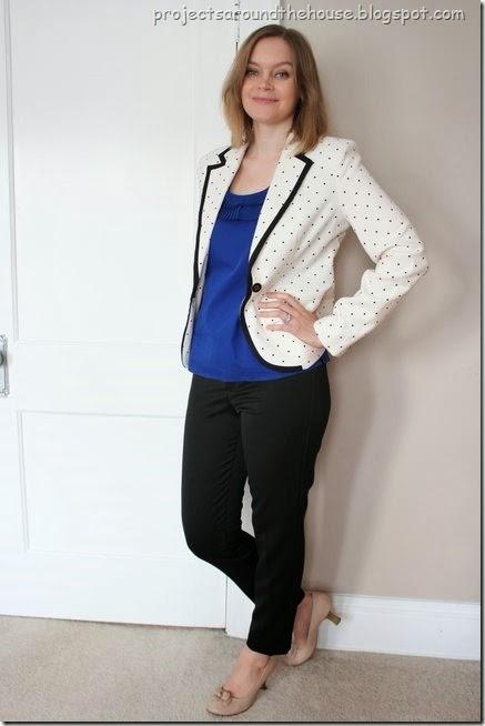 Polka dot blazer with black skinny dress pants and heels