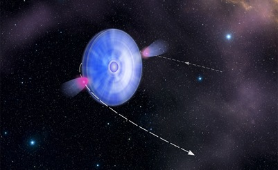 ilustração do sistema binário estrela azul e pulsar