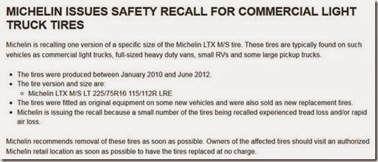 Michelin Recall
