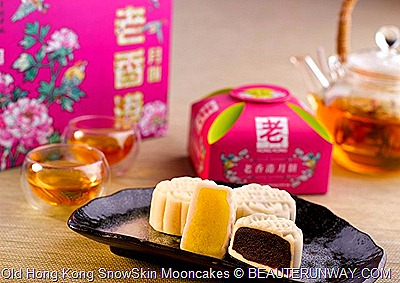 Old Hong Kong Snow Skin Moon cakes in custard, blue berry, red bean, mashed taro, green tea, plain lotus, pumpkin, durian,