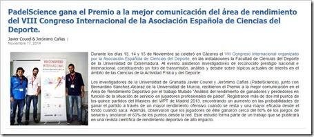 Recorte Prensa Premio PadelScience VIII Congreso Internacional de la Asociación Espaloa de Ciencias del Deporte